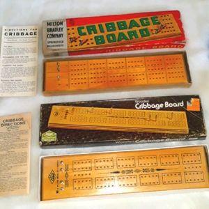 1970's vintage wooden Cribbage Boards (2)